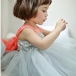 ชุดราตรีเด็ก สีเทา ประดับเลื่อม ผูกโบสีชมพู - size 15