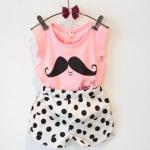 เซทเสื้อสีชมพูมสกรีนรูปหนวด + กางเกงขาวลายจุด - size 13