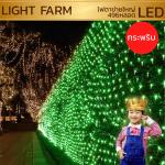 ไฟตาข่าย LED สีเขียว ขนาดใหญ่ 3 x 3 m. (แบบกระพริบ)