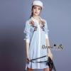 ชุดเดรสเกาหลี พร้อมส่งembroider flower shirt dress