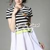 ชุดเดรสเกาหลี พร้อมส่งBirdy Stick Stripe Chic Dress