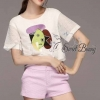 เสื้อผ้าเกาหลี พร้อมส่งเซ็ทเสื้อ+กางเกง เสื้อผ้าลายตารางเล็กสีขาวเนื้อผ้านุ่ม มีซับในให้