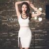 ชุดเดรสเกาหลีพร้อมส่ง Dress สีขาวแขนกุดแหวกขา