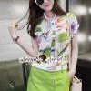 เสื้อผ้าเกาหลี พร้อมส่งBloomy Lady Green SkirtPants Set
