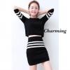 เสื้อผ้าเกาหลีพร้อมส่ง Set knitting skirt เซทเสื้องานนิตติ้ง