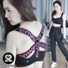 เสื้อผ้าเกาหลี พร้อมส่งSport Bra ออกแบบลายด้านหลังด้วยสายยางยืดกรีนตัวอักษร
