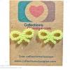 ต่างหูพลาสติก,ต่างหูก้านพลาสติก,ต่างหูเด็ก E29018 The Ribbon (Green Apple)