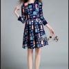 ชุดเดรสเกาหลี พร้อมส่งBoutique graphic print and belt dress