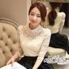 เสื้อผ้าเกาหลี พร้อมส่งเสื้อลูกไม้สีขาว ประดับมุกร้อยเป็นสร้อย4ชั้น