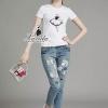 เสื้อผ้าเกาหลี พร้อมส่งamoi embroidered patch printing shirt cartoon sequined denim pants set