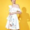 ชุดเดรสเกาหลีพร้อมส่ง Dress คอวี ระบายรอบคอ กระดุมหน้า