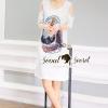 ชุดเดรสเกาหลี พร้อมส่งFalconnaly Sequinny Furnish OpenShoulder Denim Dress