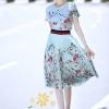 เสื้อผ้าเกาหลี พร้อมส่งชุดเซท Gucci เสื้อ+กระโปรงพิมพ์ลายดอกไม้ผ้าพริ้วๆ