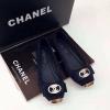 รองเท้า Chanel flat shoes หัวตัด ติดอะไหล่สีทอง