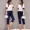 เสื้อผ้าเกาหลีพร้อมส่ง ชุด Set เสื้อคอกลม แขนสั้น+กางเกงขายาว 9 ส่วน