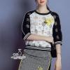 ชุดเดรสเกาหลี พร้อมส่งgauze patch floral embroidery top hip skirt leisure set