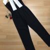 เสื้อผ้าแฟชั่นเกาหลีพร้อมส่ง Jumpsuit เกาะอกขายาวสีดำ ขาเดฟเล็กน้อย