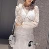 ชุดเดรสเกาหลีพร้อมส่ง Mini dress สีขาวงานฉลุช่วงแขนและอก