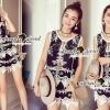 เสื้อผ้าเกาหลี พร้อมส่งLovly Lace Tial Black Bohe Style Set