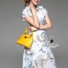 ชุดเดรสเกาหลี พร้อมส่งnoble birdly printed short sleeve splendidly dress