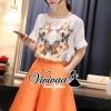 เสื้อผ้าเกาหลี พร้อมส่งLadiest butterfly orange pants set
