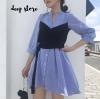 เสื้อผ้าเกาหลีพร้อมส่ง Costly Dress เดรสเชิ้ตลาย Stripe
