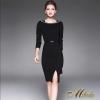 ชุดเดรสเกาหลีพร้อมส่ง Dress คอเหลี่ยม แขนยาว เนื้อผ้าโพลีเอสเตอ