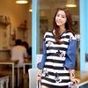 ชุดเดรสเกาหลี พร้อมส่ง Cute Mickey strip attractive Denim Dress