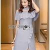 ชุดเดรสเกาหลีพร้อมส่ง เดรสผ้าเครปสีฟ้าอ่อนตกแต่งระบาย
