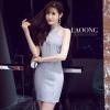 ชุดเดรสเกาหลีพร้อมส่ง Dressสีเทาเรียบสายไคว้คอ