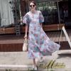 ชุดเดรสเกาหลีพร้อมส่ง Dress คอกลม แขนสั้น เนื้อผ้าไหมญี่ปุ่นลายใบไม้สีแดง