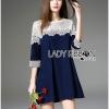 ชุดเดรสเกาหลี พร้อมส่งเดรสผ้าคอตตอนสีน้ำเงินเข้มตกแต่งผ้าลูกไม้สีขาว
