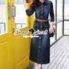 ชุดเดรสเกาหลีพร้อมส่ง Chic Denim Maxi-Shirt Dress