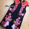 ชุดเดรสเกาหลีพร้อมส่งเดรสปักดอกไม้ งานปักมือปราณีตสวยหรูตกแต่ง