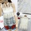 เสื้อผ้าเกาหลีพร้อมมส่ง เสื้อแขนกุดผ้าแก้วปักลายดอกไม้แนวน่ารักๆๆ