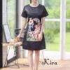 ชุดเดรสเกาหลีพร้อมส่ง Dress คอลลาสุด วางลายกามเทพแสนหวาน