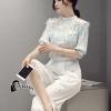เสื้อผ้าเกาหลี พร้อมส่งFloral Top + Lace Pant Set