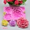 พิมพ์ยางซิลิโคน 3D ลาย ดอกกุหลาบ ดอกไม้รวม 5 แบบ