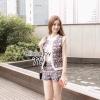 ( พร้อมส่งเสื้อผ้าเกาหลี) เซ็ตเสื้อคลุมแขนกุดผ้าไหมพรมทอลายกราฟฟิคชาวพื้นบ้าน เพิ่มลูกเล่นด้วยการแต่งขอบเสื้อโดยรอบ ด้วยผ้าลูกไม้ทอสีขาว มาพร้อมกางเกงขาสั้นทอลาย แบบเดียวกัน