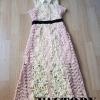 ชุดเดรสเกาหลีพร้อมส่ง Maxi dress สีหวานมาก ดอกนู้น 3D