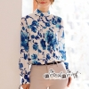 T-Shirt Printed Flower Blue Vintage Style