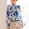 T-Shirt Printed Flower Blue Vintage Style