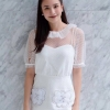 เสื้อผ้าแฟชั่นพร้อมส่ง Dress คอกลมระบายสองชั้นด้วยผ้าแก้วแขนตุ๊กตา