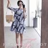 ชุดเดรสเกาหลี พร้อมส่งMini Dress เนื้อผ้าฝ้ายพิมลายทางลง