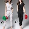 เสื้อผ้าเกาหลี พร้อมส่ง Fashionista V-Cross Jumpsuite