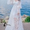 ชุดเดรสเกาหลีพร้อมส่ง All New Beach Angel Luxury White Lace Dress