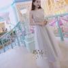 ชุดเดรสเกาหลีพร้อมส่ง Premium Grey Color Royalty Maxi Dress