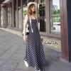 ชุดเดรสเกาหลีพร้อมส่ง Maxi Dress สายเดี่ยวลายริ้วเฉียง