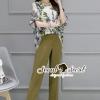 เสื้อผ้าเกาหลี พร้อมส่งJadely Chic Pants Flora Belly Blouse Set