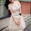 ชุดเดรสเกาหลี พร้อมส่ง Girly Creamy Lace Dress